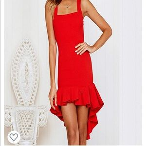 Red Bodycon Backless High Low Dress